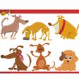 happy dogs cartoon set vector image