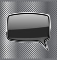 black square speech bubble with metal frame on vector image