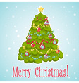 Cartoon Christmas tree decorated with xmas toys vector image
