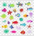 cute stickers of sea marine fish animals plants vector image