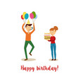 flat man and girl at birthday party vector image