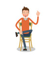 man sitting on chair with his legs crossed vector image