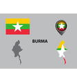 Map of Burma and symbol vector image