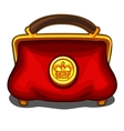 Red handbag with royal golden seal vector image