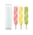 Set of Spiral Ice Cream Fruit Juice on Stick vector image