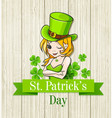 girl in a green hat on wooden background vector image vector image