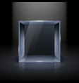empty glass showcase in cube form for presentation vector image