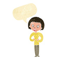 cartoon woman gesturing at self with speech bubble vector image
