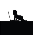 baby front of laptop silhouette vector image