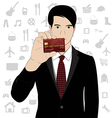 Business man hold credit card vector image