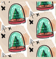 colorful christmas poster with cute cartoon snow vector image