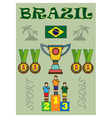 Digital brasil sport icons set flag vector image