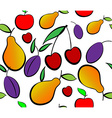 Pears apples plums and cherry seamless pattern vector image