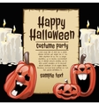 Pumpkins and white candles with card fot text vector image