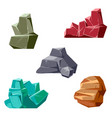 set of rocks and crystals cartoon isometric 3d vector image