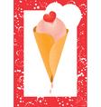 ice cream cone and heart vector image