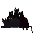 black cats with green eyes vector image