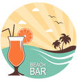Cocktail over summer landscape vector image