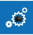 concept business teamwork gear blue background vector image