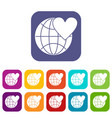 earth world globe with heart icons set vector image