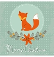 Elegant Merry Christmas card with cute fox vector image