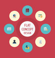 Flat icons act deadline pie bar and other vector image