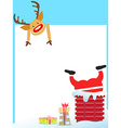 Santa Claus stuck in the chimney card vector image