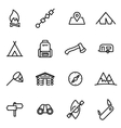 thin line icons - camping vector image
