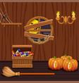 wooden house cellar halloween symbols vector image