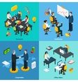 Business concept 4 isometric icons square vector image