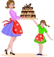 Mother and daughter baked a cake vector image