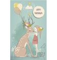 cute little girl with hares and deer vector image