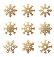 golden snowflake set vector image