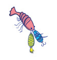 lobster bitting spinner object to catch it vector image