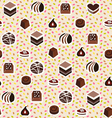sweet pattern assortment of chocolates candy vector image