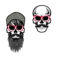 Set of hipster skulls in hat and sunglases vector image