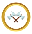 Crossed double axes icon cartoon style vector image