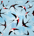 graphic pattern with swallows vector image vector image