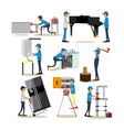 flat icons set of workers profession people vector image