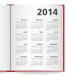 2014 Calendar in notebook vector image