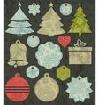 vintage christmas labels over brown background vector image