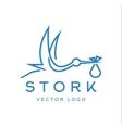 Stork brings baby trendy brand logos outline vector image