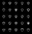 Design shield line icons on black background vector image