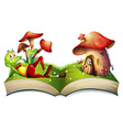 Book of frog and mushroom house vector image