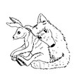 cartoon valentine couple wolf hugs with a hare vector image