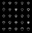 Design shield line icons on black background vector image