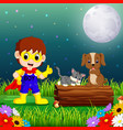 happy super hero boy at night in the park with pet vector image