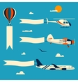 set of flying balloon helicopter airplane vector image