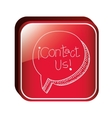 square button with dialogue balloon contact us vector image
