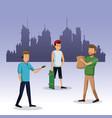 men walking with bag shop skateboard city vector image